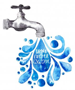 Watercolor faucet with water drops