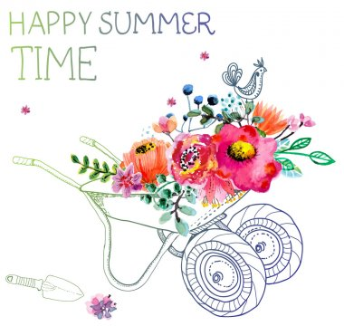 Watercolor flowers and garden trolley