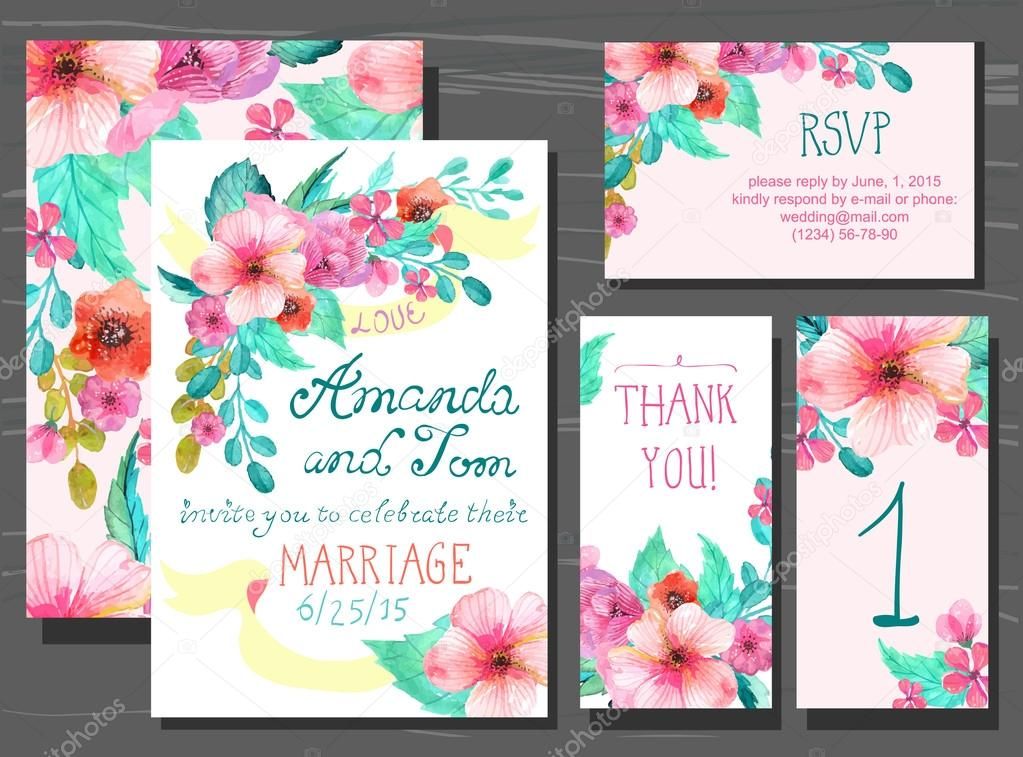 Beautiful set of invitation cards with watercolor flowers elemen