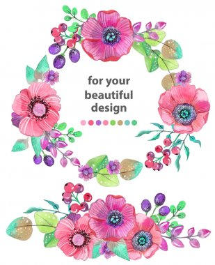 Colorful floral card with leaves and flowers, watercolor illustr