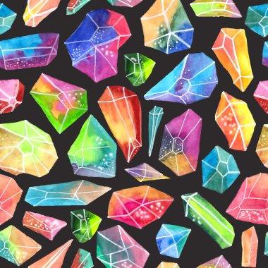 Colorful watercolor gem pattern, beautiful crystal pattern