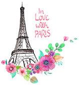 Eiffelturm mit Aquarell Blumen