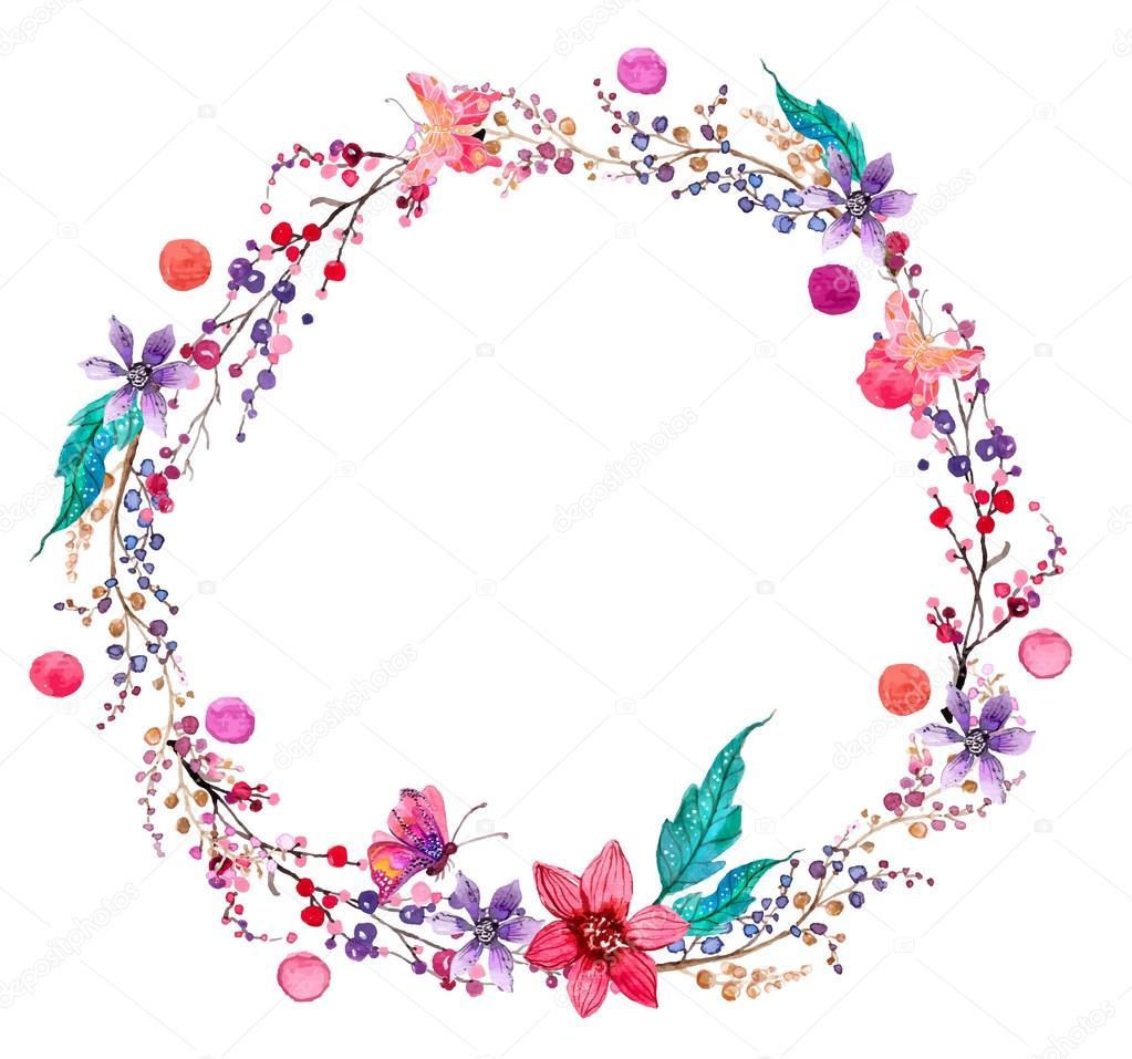 Fondo de guirnalda de flores acuarela — Vector de stock © Vasilek ...