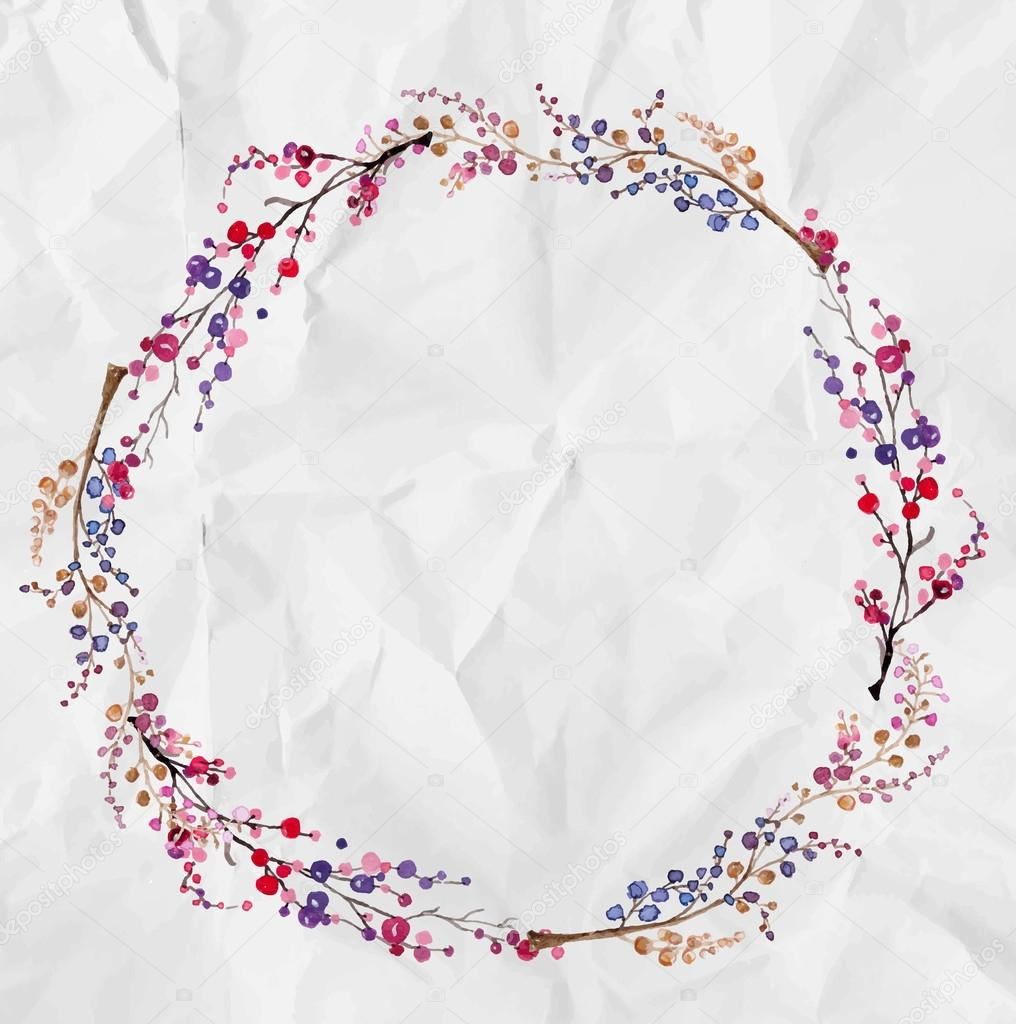 Watercolor flower wreath background