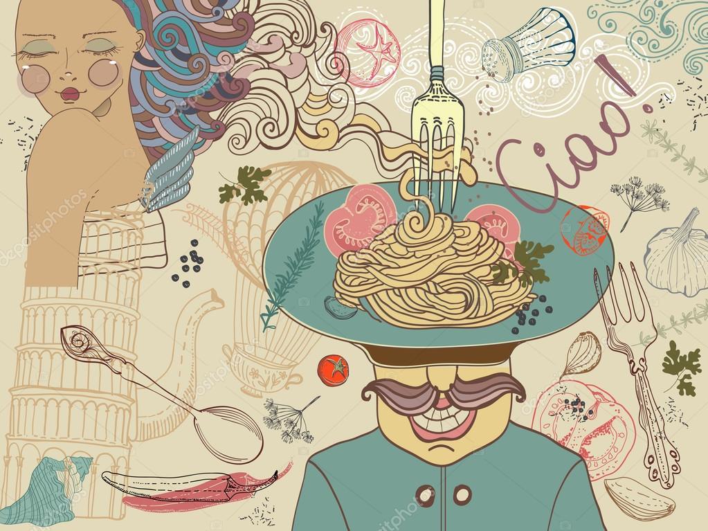 Italian food, illustration