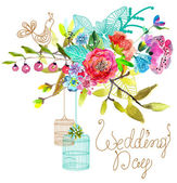 Fotografia Watercolor Floral background with bird cages for beautiful desig