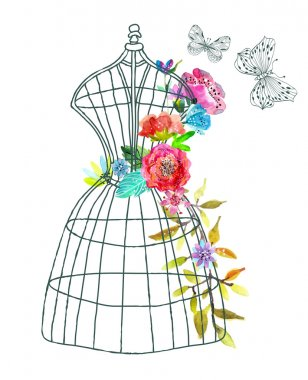 Doodle mannequin with watercolor flowers and butterfly