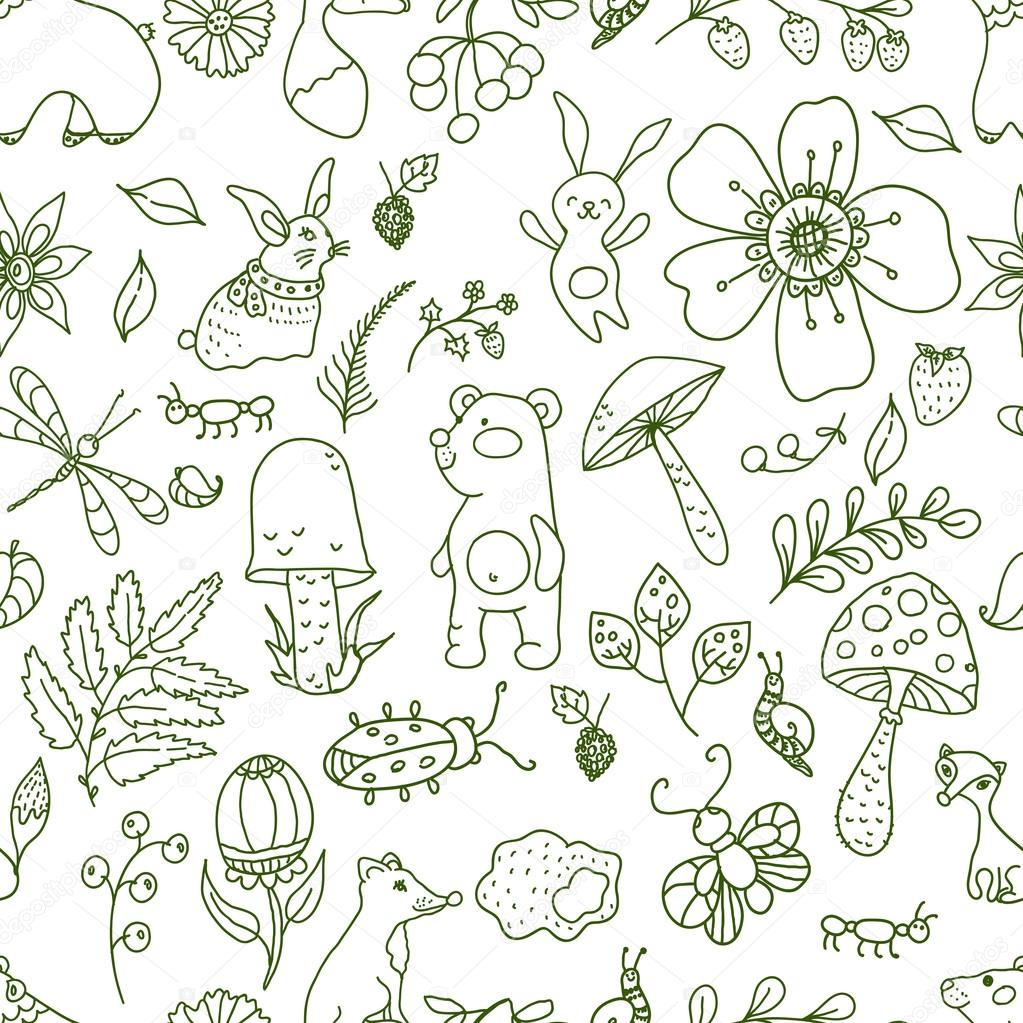 Doodle forest illustration, floral seamless pattern with forest