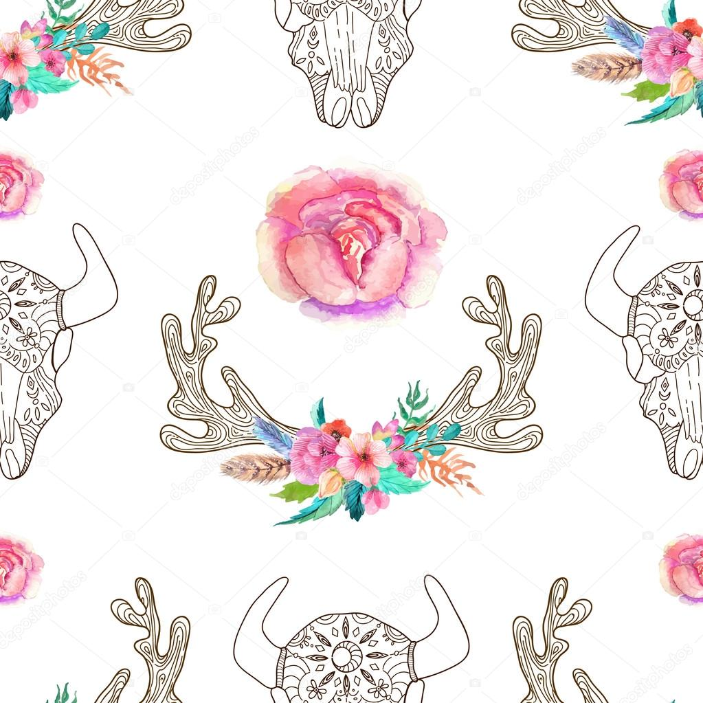Doodle bull skull and horns with watercolor flowers and feathers