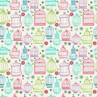 Birdcages pattern. Colorful doodle illustration.