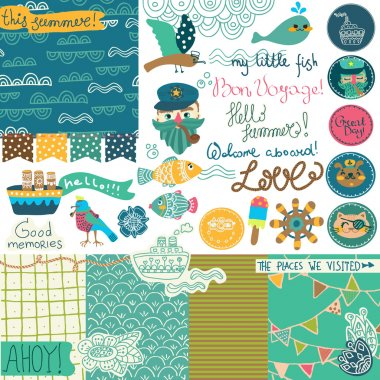 Sea vacation scrapbooking collection