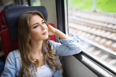 Beautiful woman in train