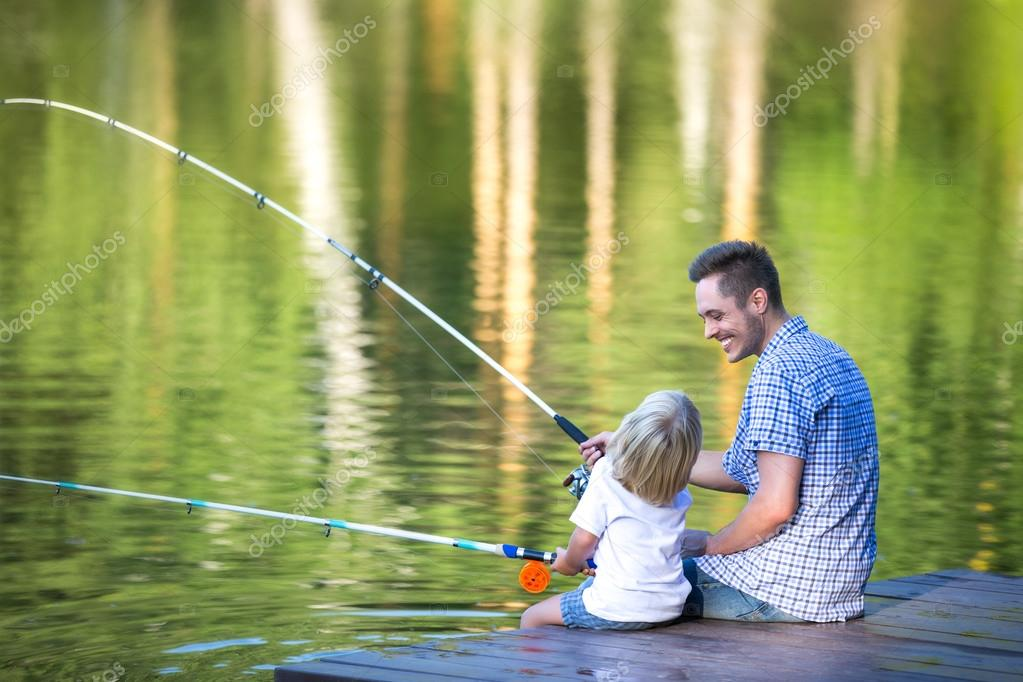 Fishing family outdoors