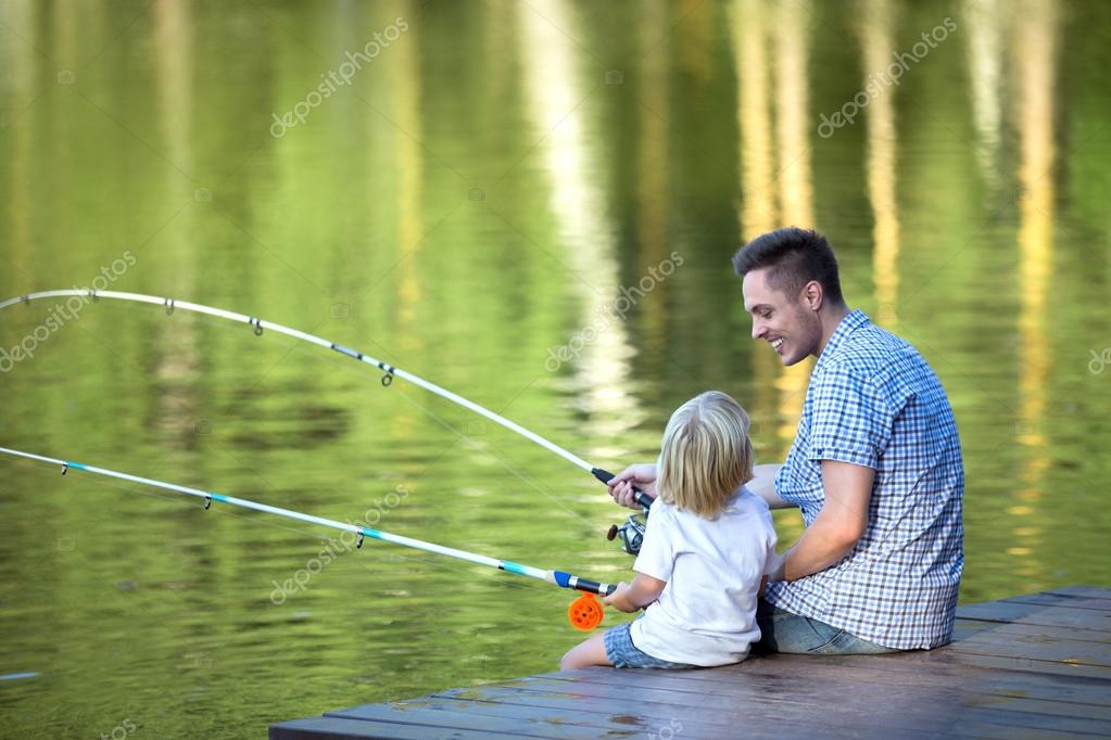 Family fishing outdoors