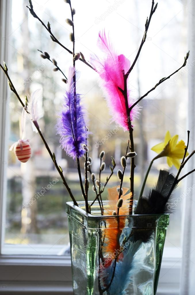 Easter Still Life Willow Branch And Feathers In A Vase Stock