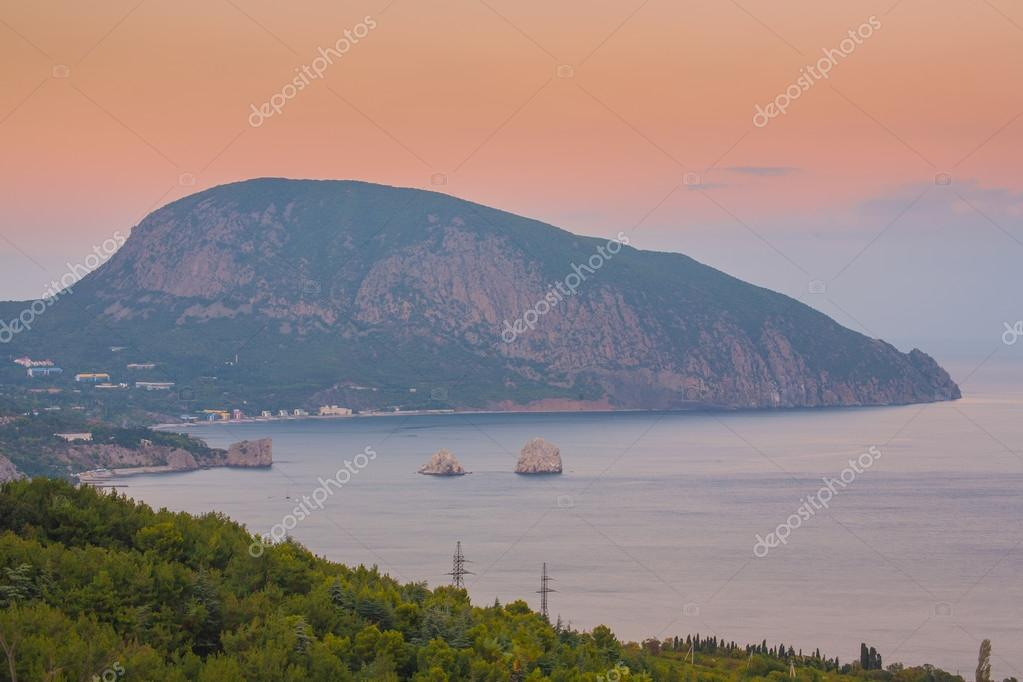 Gurzuf and Ayu Dag mountain. Crimea.