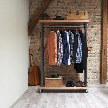 modern wooden rack in the loft interior