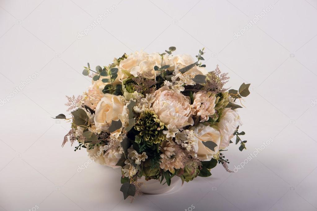 Artificial Flowers Bouquet In The Vase Isolated On White Stock