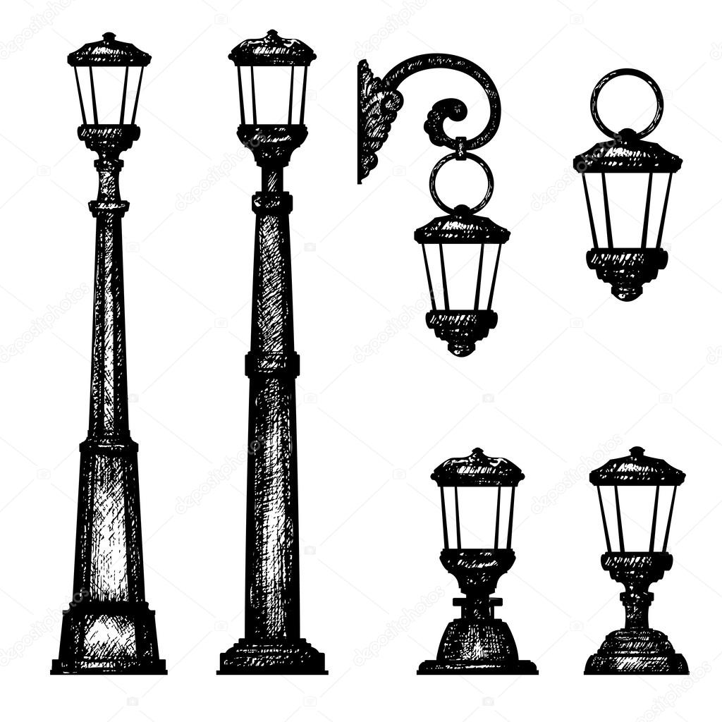 how to draw a street light step by step