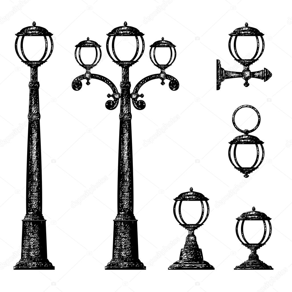 Sketch of street light, vector drawing — Stock Vector © tan_tan ... for Street Light Drawing  66pct