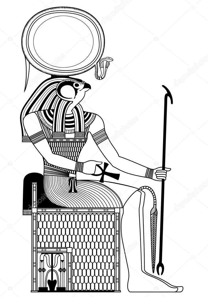 horus isolada a figura do deus do antigo egito vetores de stock
