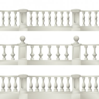 Outdoor and park elements : balustrade , decorative vase ,set of landscape elements,vector drawing