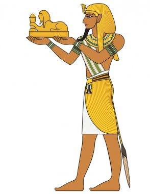 Pharaoh , egyptian ancient symbol, isolated figure of ancient egypt deities