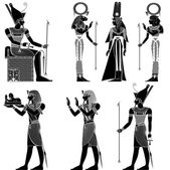 Sada egyptských starověkých symbolu, izolován starověkého Egypta božstev