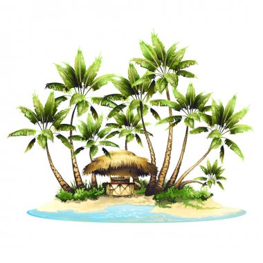 tropical palm and island