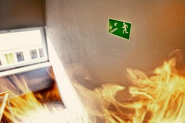 Fire in the builgding - evacuate building way