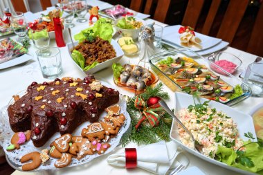 Festive table full of food for Christmas