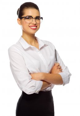 Young businesswoman with glasses and pen