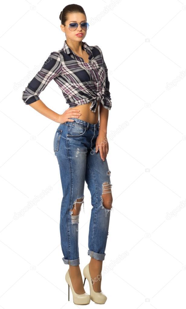 mujer joven en jeans — Foto de stock © rbvrbv  120483136 be29c005416