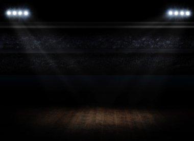 Sports hall interior with spotlights stock vector