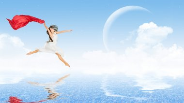 Young dancing girl in dress on water surface stock vector