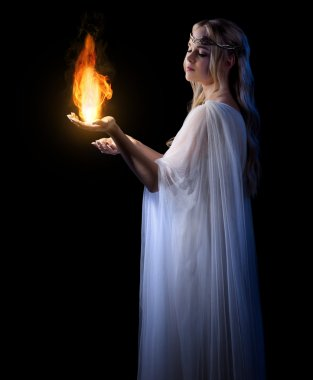 Young elven girl with fire isolated