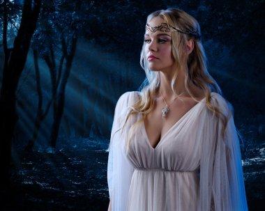 Elven girl in night forest