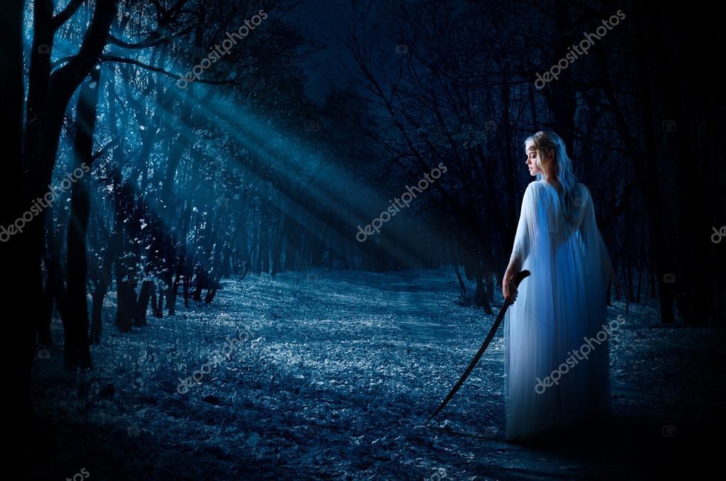 Фотообои Эльфийская девушка с мечом в ночном лесу