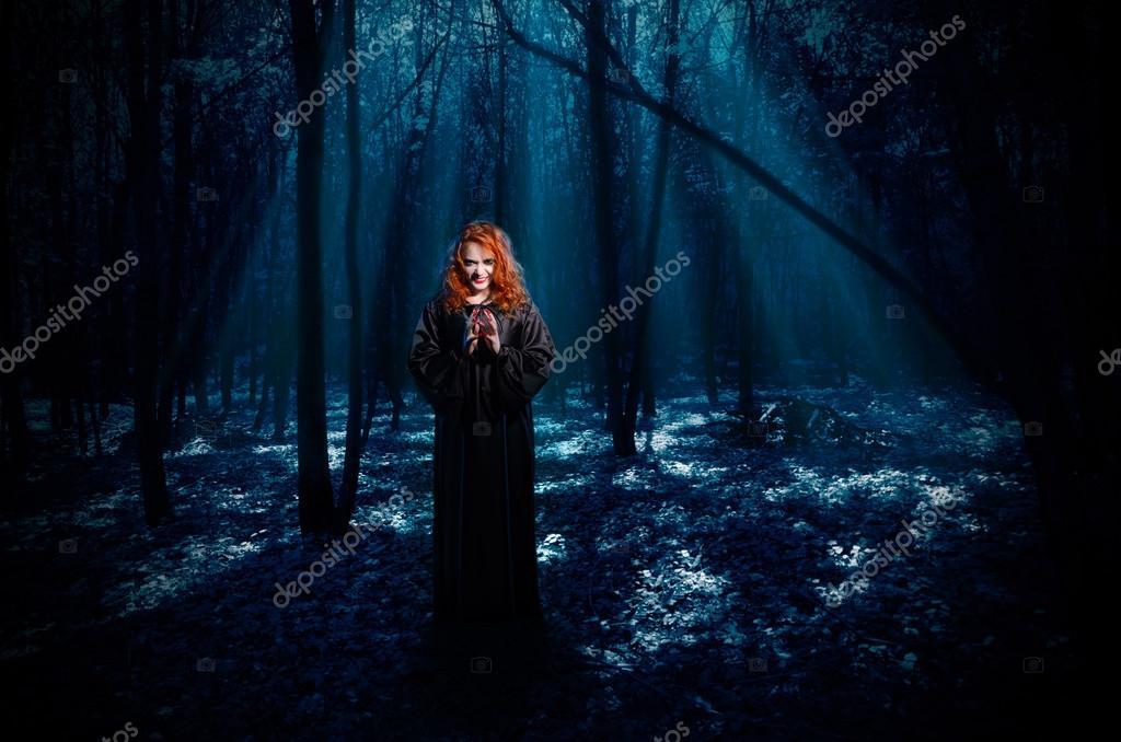 Фотообои Ведьма в ночном лесу