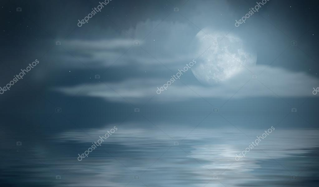 Night sea with clouds