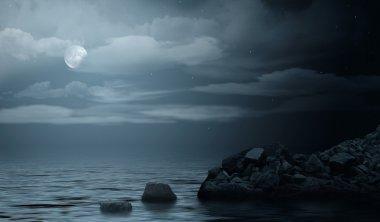 Night sea seascape