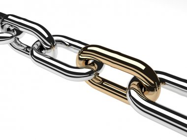 3d render stainless steel chain isolated on white