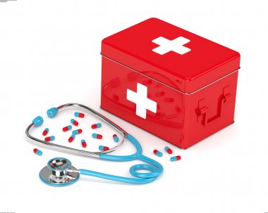 3d rendered first aid kit, stethoscope and pills over white background stock vector