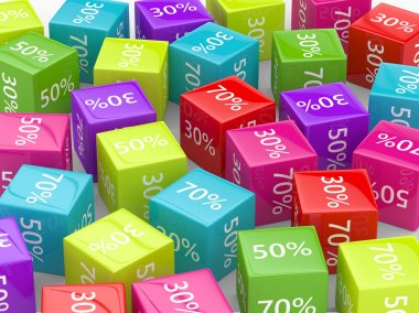 3D rendering of  colorful cubes with discount sign