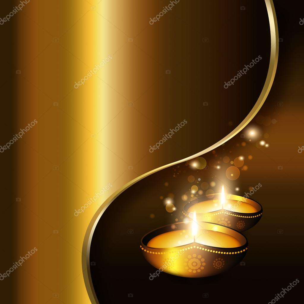Oil Lamps With Diwali Greetings Over Gold Background Stock Photo