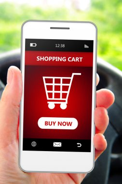 hand holding mobile phone with  shopping cart in the car