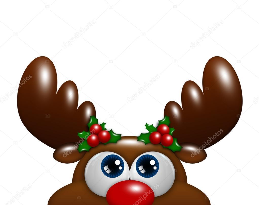 Reno De Navidad Dibujos Animados Con Holly Mirando Sobre