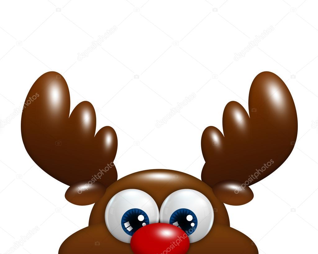 Reno De Navidad Dibujos Animados Aislado Sobre Fondo