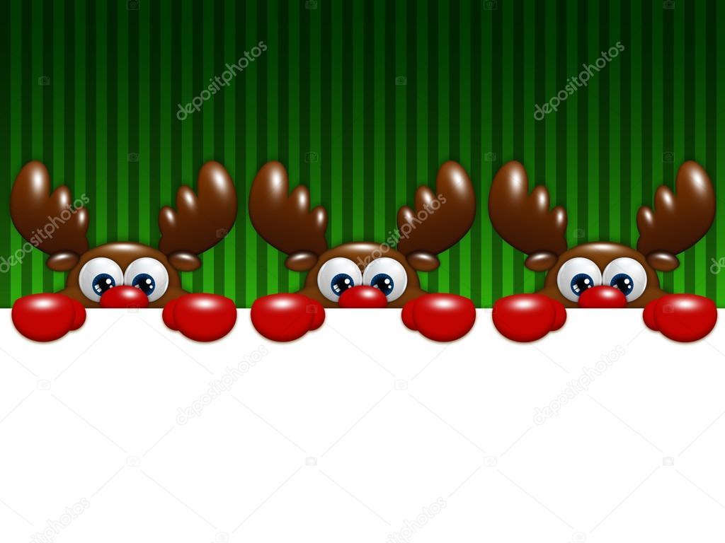 Renos De Navidad Dibujos Animados Sobre Fondo Verde Con