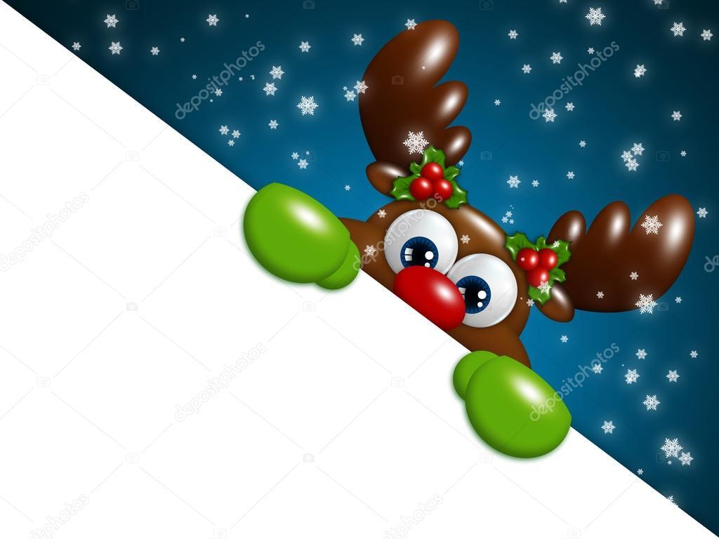 Reno De Navidad Dibujos Animados Sobre Fondo Azul Con